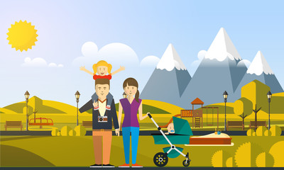 Happy Big Family in The Park Flat Style Vector Illustration Eps10