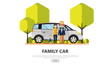 Happy Family With Family Car in Outdoor Park. Vector Illustration.
