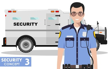 Security concept. Detailed illustration of armored car and security guard on white background in flat style. Vector illustration.