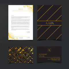 Luxury branding and Corporate Identity Template. Fashion Elegant Black luxury business cards with marble texture and gold letterhead. Banner or invitation design