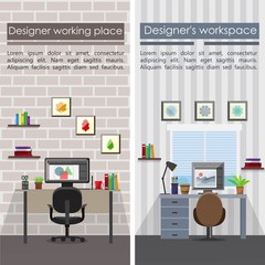 Flat Designer Workplaces Vertical Banners
