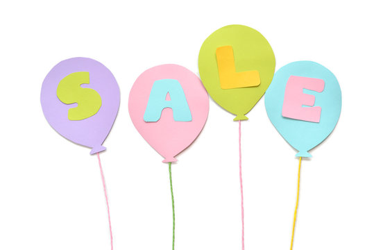 Sale balloon paper cut on white background - isolated