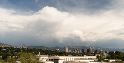 Mountains Dominate Salt Lake City Skyline Background Looking East