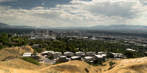 Capital Dominates Salt Lake City Skyline Looking South