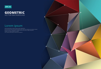 Abstract 3D colorful triangle,low polygonal, geometric , pattern template with copy space, Vector