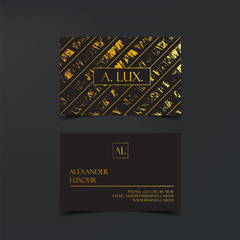 Fashion Elegant Black luxury business cards with marble texture and gold detail vector template, banner or invitation with golden foil details. Branding and identity graphic design