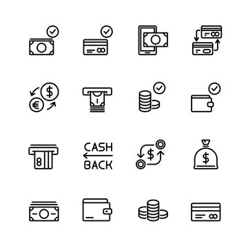 Simple set of money and financial Vector Line Icons. Contains such Icons as Wallet, ATM, Bundle of Money, Coins, Confirming payment, Sack and more. 48x48 Pixel Perfect.
