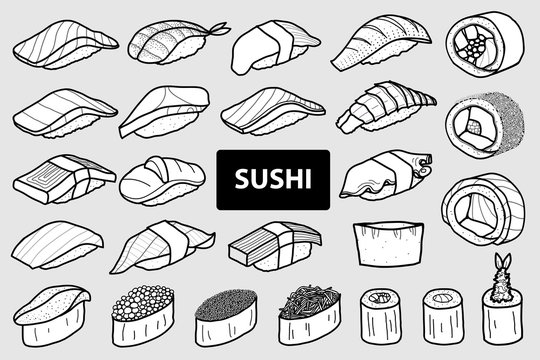 Set of 25 isolated sushi and roll in black outline and white plane. Cute Japanese food hand drawn style.