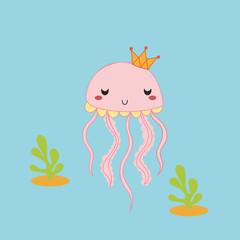 cute jellyfish cartoon vector