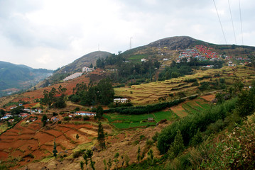 Landscape, mountain, Valley,  village, country side