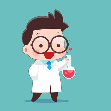 Cartoon Scientist With Test Tube And Science Experiments, Idea Concept With Character Design, Vector Illustration 10 EPS