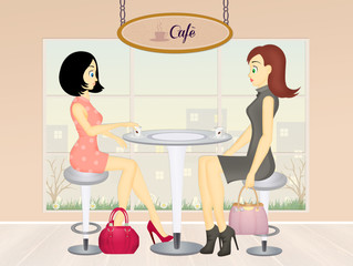 women drink cafe