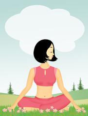 girl doing yoga in the meadow