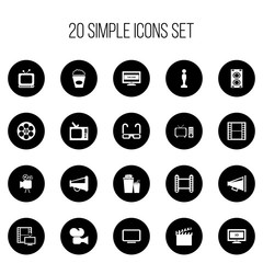 Set Of 20 Editable Filming Icons. Includes Symbols Such As Film Spectacles, Megaphone, Reel And More. Can Be Used For Web, Mobile, UI And Infographic Design.