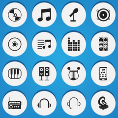 Set Of 16 Editable Media Icons. Includes Symbols Such As Music Speaker, Cd, Smartphone And More. Can Be Used For Web, Mobile, UI And Infographic Design.