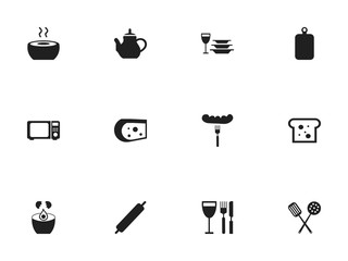 Set Of 12 Editable Cooking Icons. Includes Symbols Such As Teapot, Break Eggs, Baguette And More. Can Be Used For Web, Mobile, UI And Infographic Design.