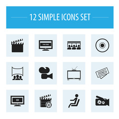 Set Of 12 Editable Filming Icons. Includes Symbols Such As Widescreen, Seat, Hd Television And More. Can Be Used For Web, Mobile, UI And Infographic Design.