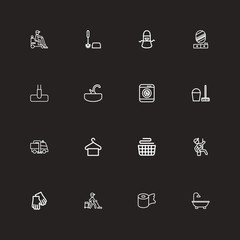 Set Of 16 Editable Cleanup Outline Icons. Includes Symbols Such As Washer Machine, Clean, Kitchen Clothing And More. Can Be Used For Web, Mobile, UI And Infographic Design.