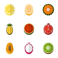 Set Of 9 Editable Dessert Flat Icons. Includes Symbols Such As Melon, Citrus, Garnet And More. Can Be Used For Web, Mobile, UI And Infographic Design.