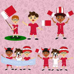 Set of boys with national flags of Bahrain. Blanks for the day of the flag, independence, nation day and other public holidays. The guys in sports form with the attributes of the football team