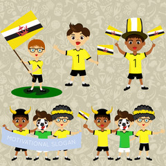Set of boys with national flags of Brunei. Blanks for the day of the flag, independence, nation day and other public holidays. The guys in sports form with the attributes of the football team