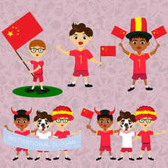 Set of boys with national flags of China. Blanks for the day of the flag, independence, nation day and other public holidays. The guys in sports form with the attributes of the football team
