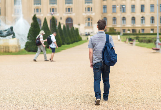 Young student walking to the university. Back view