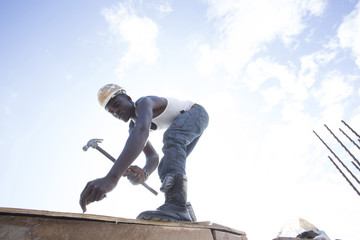 Man working on construction site.