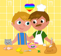 Gay couple cooking happily vector illustration