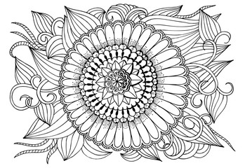 Black and white flower round pattern for adult coloring book.