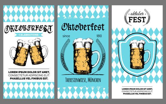 Oktoberfest flyer. Vector beer festival poster. Brewery label or badge with vintage hand sketched glass mug