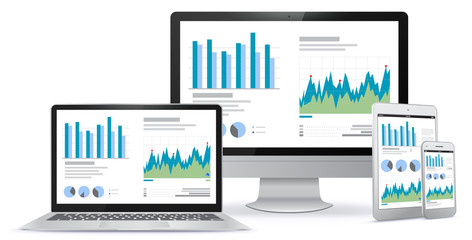 Computer Screen, Laptop, Tablet PC, Smart Phone Screens With Financial Charts and Graphs