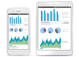 Mobile Phone and Tablet Computer Screens With Financial Charts and Graphs