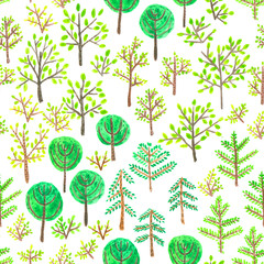 Watercolor doodle trees seamless pattern.