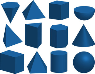 Basic 3d geometric shapes. Cube, prism, pyramid, tetrahedron, polyhedron, sphere, cylinder, cone,Solids isolated on a white background.