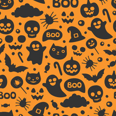 Vector cute seamless Halloween pattern. Smiling and funny cartoon characters pumpkin, ghost, cat, bat, candy, spider. Wrapping paper, wallpaper, repeating background