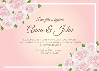Wedding card - Soft pink rose floral frame on yellow pink background vector template design