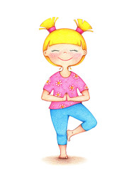hands drawn illustration of young smiling girl in pink tshirt and blue shorts doing yoga by the color pencils