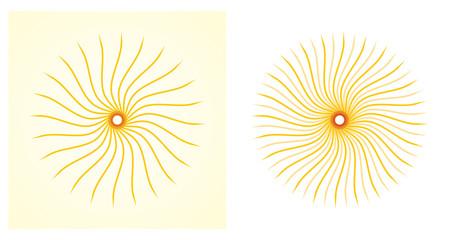 Artistic orange sun illustration set