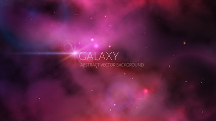 Vector cosmic background of the purple nebula with many stars.