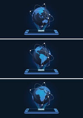 High Tech Mobile and Globe with Connection Lines Vector Illustration