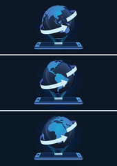 High Tech Mobile and Globe with Arrow Lines Vector Illustration