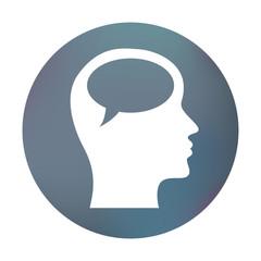 Farbiger Button - Sprechblase im Kopf