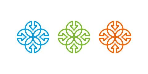 Arrow, Leaf, Teamwork Outline Logo
