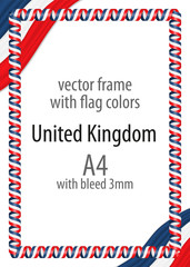 Frame and border of ribbon with the colors of the United Kingdom flag