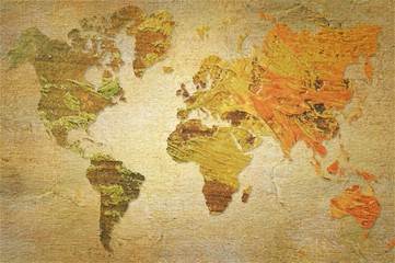 World map made with artistic oil colors on fabric background. Elements of this image furnished by NASA.