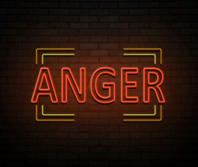 Neon anger concept.