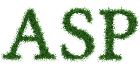 Asp - 3D rendering fresh Grass letters isolated on whhite background.