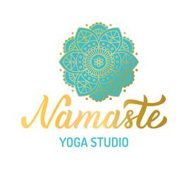 Hand lettering gilding logo for yoga studio. Mandala with turquoise elements. Vector illustration.