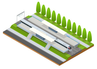 Vector isometric infographic element Railway Station Building Terminal. City Train. Building Facade Train Station public train station building with passenger trains, platform, related infrastructure